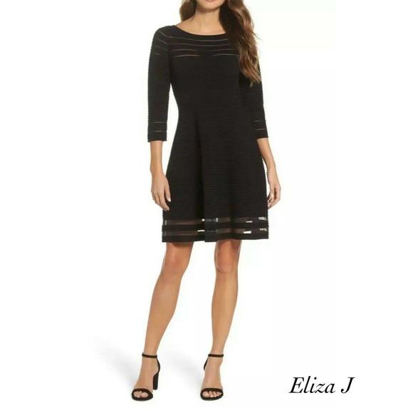Eliza J Black Sheer Mesh Ribbed Dress NWT Size M